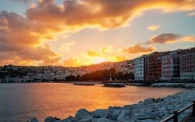 Картинка закат, камни, дома, природа, Италия, Средиземное море, облака