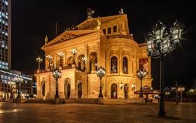 Обои фонари, ночь, огни, площадь, Франкфурт-на-Майне, Германия, дома