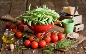 Обои зелень, масло, сыр, горох, посуда, овощи, помидоры