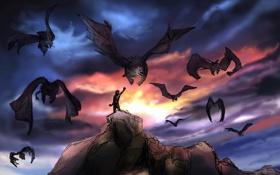 Обои небо, полет, скала, человек, крылья, арт, существа