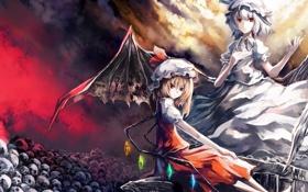 Картинка девушки, крылья, черепа, вампиры, красные глаза, touhou, remilia scarlet