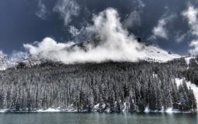 Картинка зима, пейзаж, река, горы