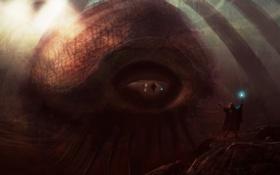 Обои посох, глаз, щюпальца, Монстр, человек