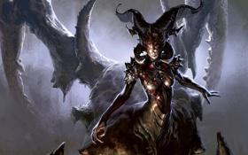 Обои Praetor, Magic: The Gathering, монстр, рога, маска, пещера, когти