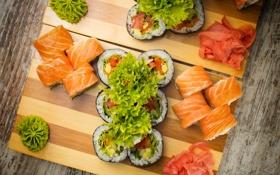 Обои суши, sushi, роллы, salad, rolls, салат, имбирь
