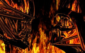 Картинка отражение, огонь, Чужой, Darth Vader, Alien, Дарт Вейдер