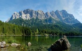 Обои зелень, деревья, горы, природа, озеро, река, фото
