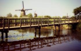 Картинка пейзаж, река, мост, мельницы