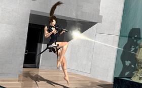 Обои девушка, пистолет, оружие, волосы, дверь, автомат, хвост