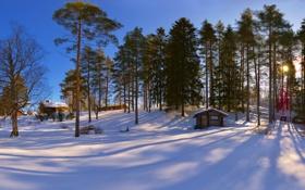 Картинка зима, снег, дома, сосны