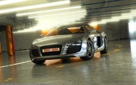 Картинка гараж, Audi R8, V10, в10, Серый цвет, Ауди р8