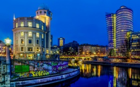 Картинка ночь, дизайн, огни, река, граффити, дома, Австрия