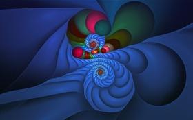 Обои свет, линии, цвет, спираль, объем, симметрия