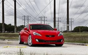 Обои небо, красный, тучи, red, Hyundai, хёндай, передняя часть