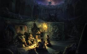 Картинка ночь, костер, фэнтези, арт, факел, повозка, руины