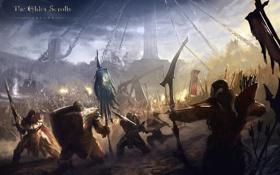 Обои concept art, fantasy art, The Elder Scrolls, The Elder Scrolls Online, битва