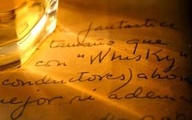 Картинка текст, виски, записи, почерк, бокал, бумага, лист