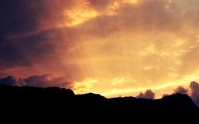 Обои солнце, облака, свет, горы, природа, Небо, красота
