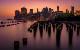 Обои город, Нью-Йорк, вечер, USA, США, Манхэттен, Manhattan
