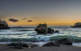 Картинка волны, пляж, закат, океан, скалы, Каллифорния