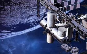 Обои планета, станция, орбита, МКС