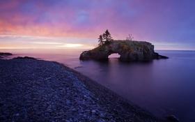 Обои море, пейзаж, закат, природа, камни, красиво