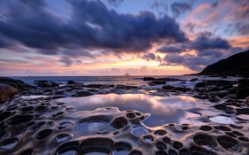 Обои Sunrise, reflection, Taiwan, sea caves, Coastal