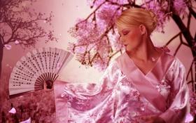 Картинка девушка, бабочка, лепестки, сакура, веер, арт, иероглифы