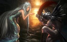 Картинка девушка, кровь, меч, воин, арт, парень, Sheh