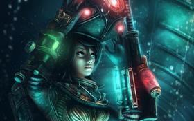 Обои девушка, металл, оружие, скафандр, арт, шлем, Bioshock 2