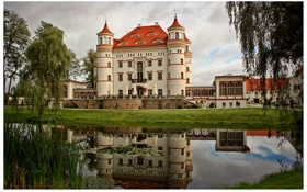 Картинка город, озеро, фото, Польша, дворец, Myslakowice, Wojanоw
