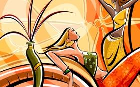 Обои девушка, линии, рисунок, интерьер, вектор, ваза