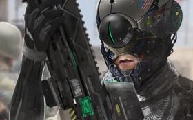 Картинка оружие, арт, солдат, шлем, броня