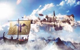 Картинка небо, облака, горы, город, корабль