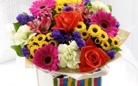 Картинка фото, Цветы, Букет, Подсолнухи, Розы, Герберы, Альстрёмерия