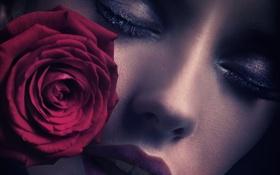 Картинка девушка, лицо, ресницы, роза, губы, крупным планом, закрытые глаза