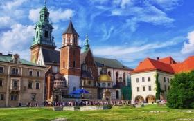 Обои небо, двор, Польша, дворец, Краков, Вавель, королевский замок