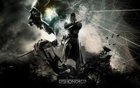 Картинка город, абстракции, маска, кинжал, убийца, видеоигра, dishonored