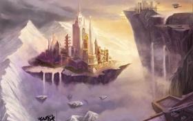 Обои пейзаж, город, фантастика, скалы, арт, летающий, kunzhan Tao