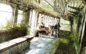 Картинка вода, поезд, растения, шляпа, аниме, арт, вагон