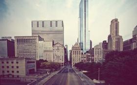Картинка здания, Chicago, небо, улица, небоскребы, street, Чикаго