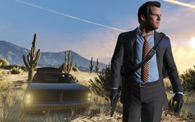 Обои City, Car, Gun, Game, Grand Theft Auto V, GTA V, Desert