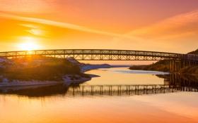 Обои закат, мост, озеро, река, оранжевое небо