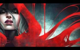 Обои накидка, красная, арт, капюшон, девушка, взгляд