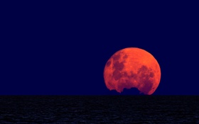 Обои океан, луна, горизонт, полнолуние, Argentina, Buenos Aires