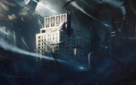 Картинка город, здания, робот, катастрофа, плакат, арт