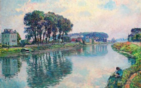 Картинка пейзаж, река, картина, рыбак, Henri Lebasque, Fisher at the Bank of the Marne at Lagny