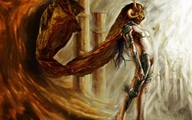 Картинка свет, Девушка, доспехи, свечи, рога, шлем, ведьма