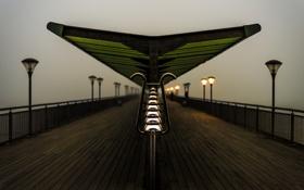 Обои fog, Bournemouth, Pier