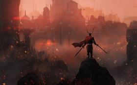 Обои огни, камень, Воин, рога, шлем, мечи, дворец